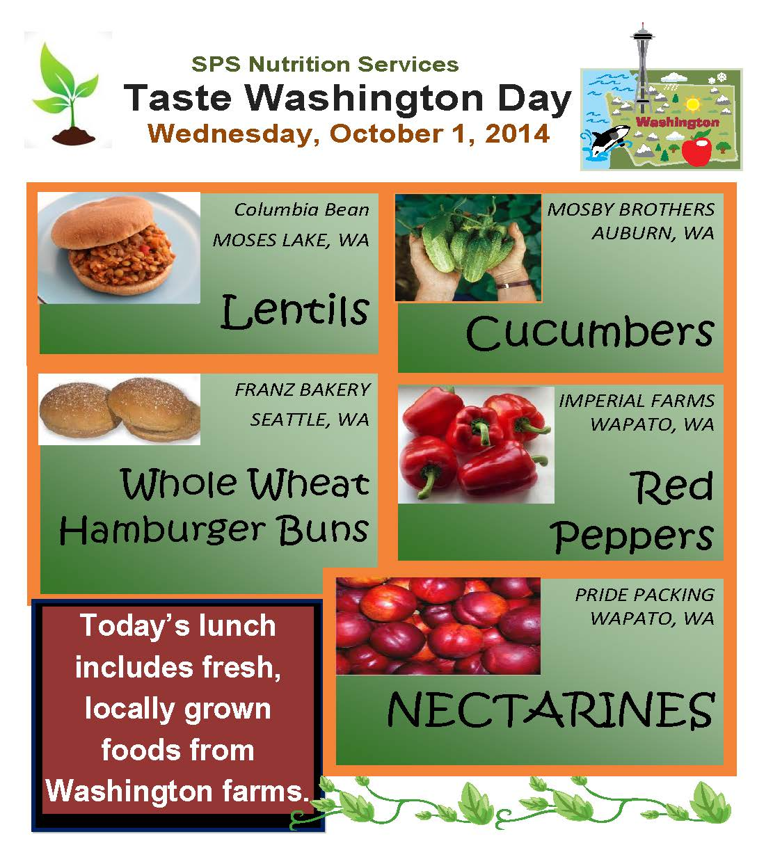 lentils from Moses Lake Cucumbers from Auburn and Nectarines and red peppers from Wapato